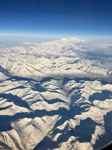 A view of mountains from the air, Alaska